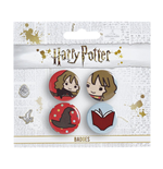 Harry Potter Cutie Button Badge 4-Pack Hermione & Sorting Hat & Book