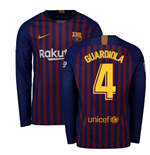 2018-2019 Barcelona Home Nike Long Sleeve Shirt (Guardiola 4)