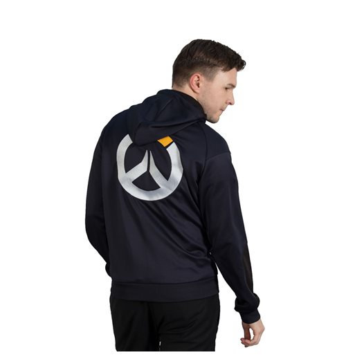 OVERWATCH Athletic Tech Full Length Zipper Hoodie, Male, Small, Black/Blue