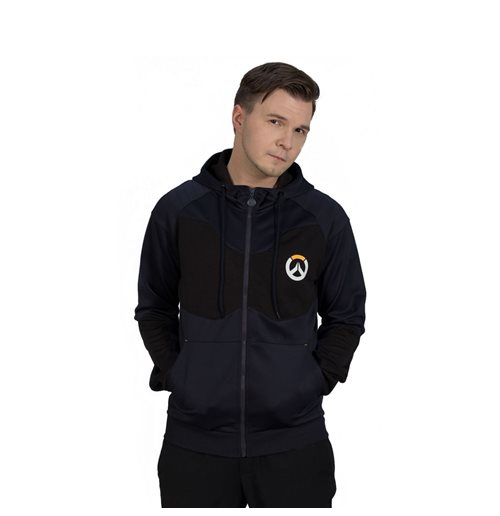 OVERWATCH Athletic Tech Full Length Zipper Hoodie, Male, Medium, Black/Blue
