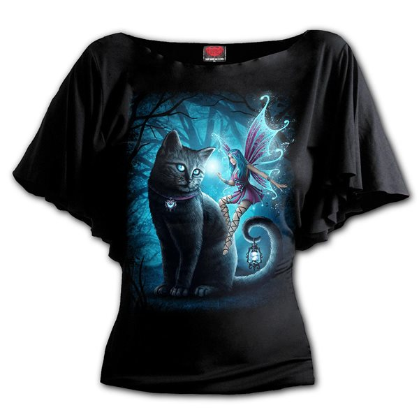 Cat And Fairy - Boat Neck Bat Sleeve Top Black (Plain)