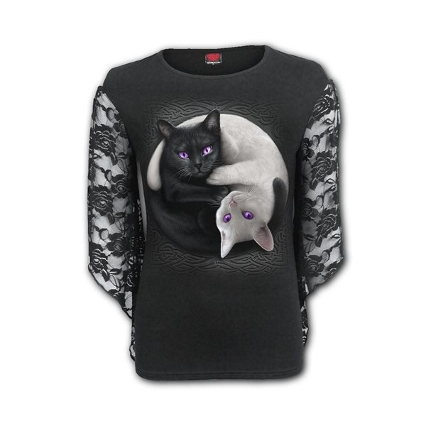 Yin Yang Cats - Rose Lace Sleeve Top