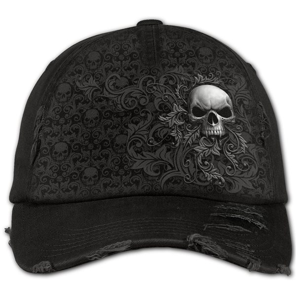 Skull Scroll - Baseball Caps Ditressed with Metal Clasp