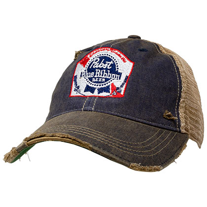Pabst Blue Ribbon Brown Retro Brand Distressed PBR Trucker Hat