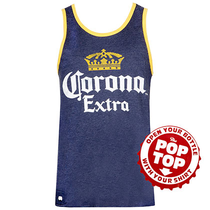CORONA EXTRA Men's Dark Blue Pop Top Bottle Opener Tank Top