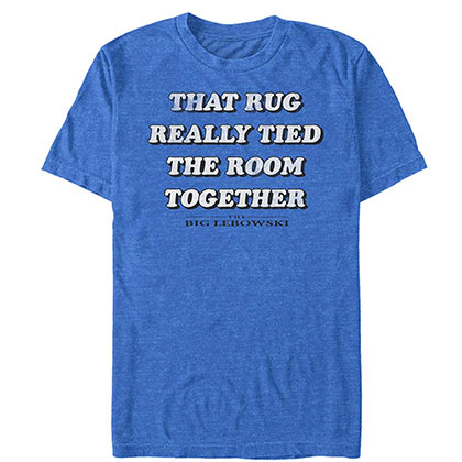 Big Lebowski Rub Tied The Room Together Blue Tee Shirt