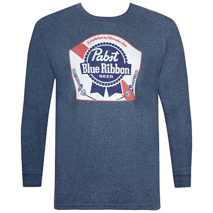 Pabst Blue Ribbon Long Sleeve Navy Blue Tee Shirt
