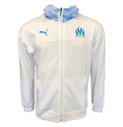 2019-2020 Olympique Marseille Puma Casuals Zip Thru Hoody (White)