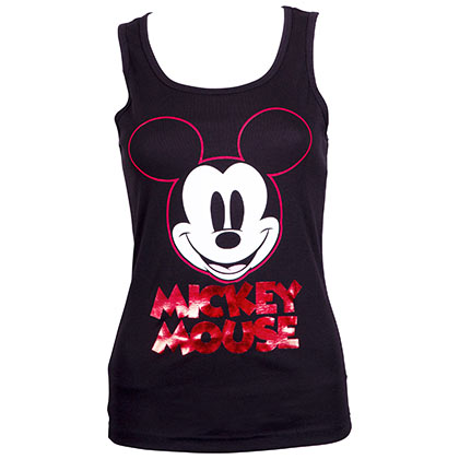 Mickey Mouse Ladies Red Foil Logo Black Tank Top