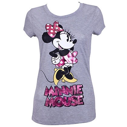 Minnie Mouse Ladies Pink Foil Logo Grey Tee Shirt