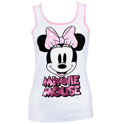Minnie Mouse Ladies Pink Foil Logo White Tank Top