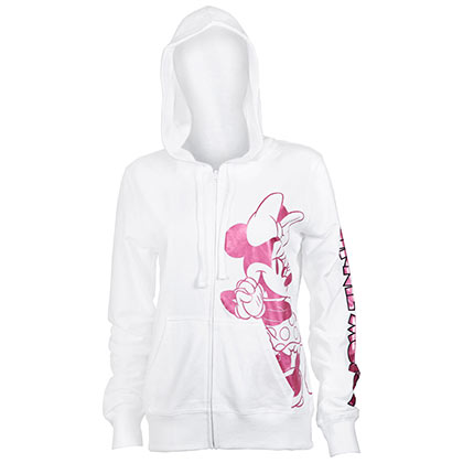 Minnie Mouse Ladies Pink Foil Logo White Hoodie