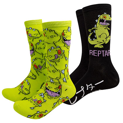 RUGRATS Reptar 2-Pack Black And Green Crew Socks