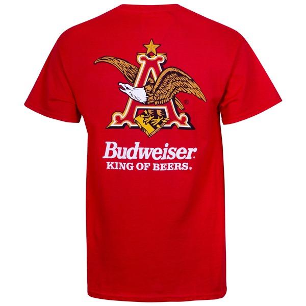 Budweiser Vintage Logo Red Pocket Tee Shirt