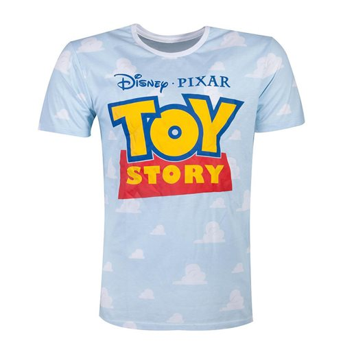 DISNEY Toy Story 4 Logo with All-over Clouds T-Shirt, Male, Large, Blue