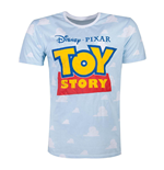 DISNEY Toy Story 4 Logo with All-over Clouds T-Shirt, Male, Medium, Blue