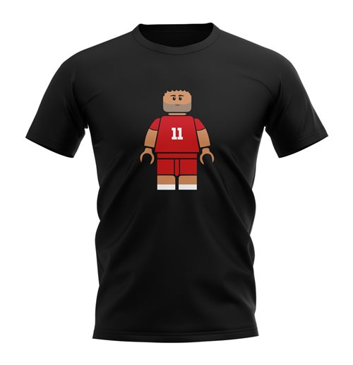 Mo Salah Liverpool Brick Footballer T-Shirt (Black)