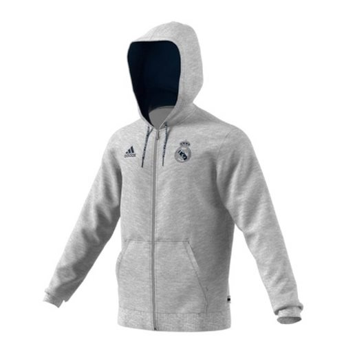 2019-2020 Real Madrid Adidas Full Zip Hoody (Grey)