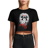 Friday 13TH - White Mask - Unisex Crop Top Black