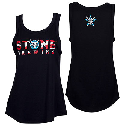 Stone Brewing Women's Red White And Blue Logo Black Tank Top