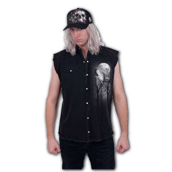 Forest Wolf - Sleeveless Stone Washed Worker Black (Plain)