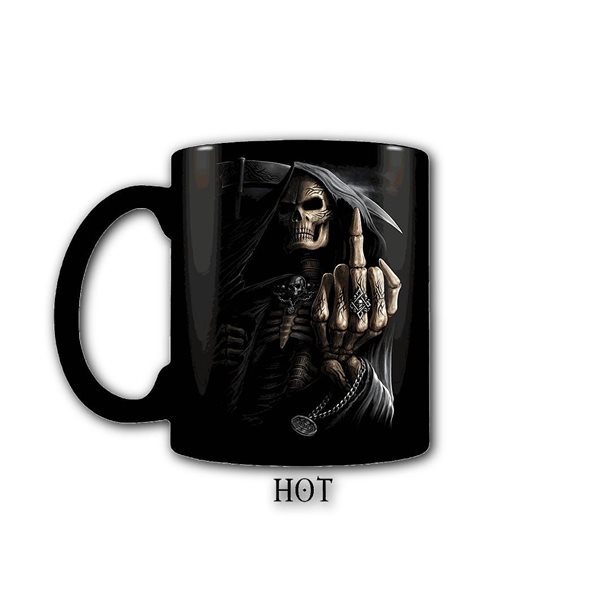 Bone Finger - Heat Change Ceramic Coffee Mug - Gift Boxed