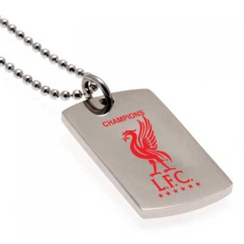 Liverpool F.C. Champions Of Europe Colour Crest Dog Tag & Chain
