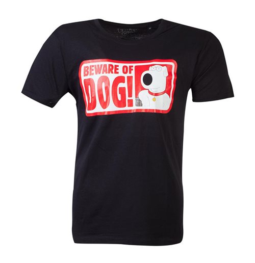 FAMILY GUY Beware of Dog T-Shirt, Male, Small, Black