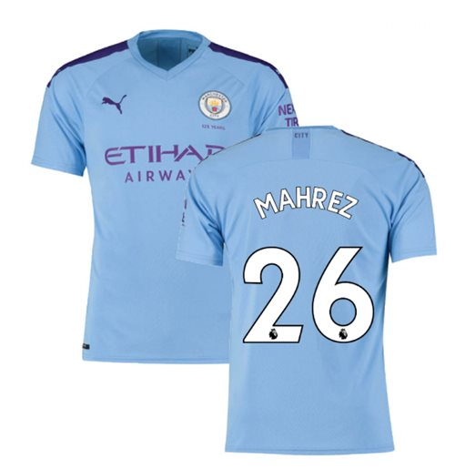 2019-2020 Manchester City Puma Home Football Shirt (MAHREZ 26)