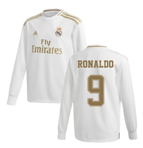 detailed look bf7d0 2a371 2019-2020 Real Madrid Adidas Home Long Sleeve Shirt (Kids) (RONALDO 9)