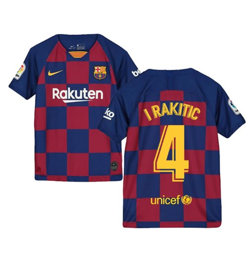 2019-2020 Barcelona Home Nike Shirt (Kids) (I RAKITIC 4)