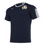 2019-2020 Italy Macron Rugby Travel Tee Navy