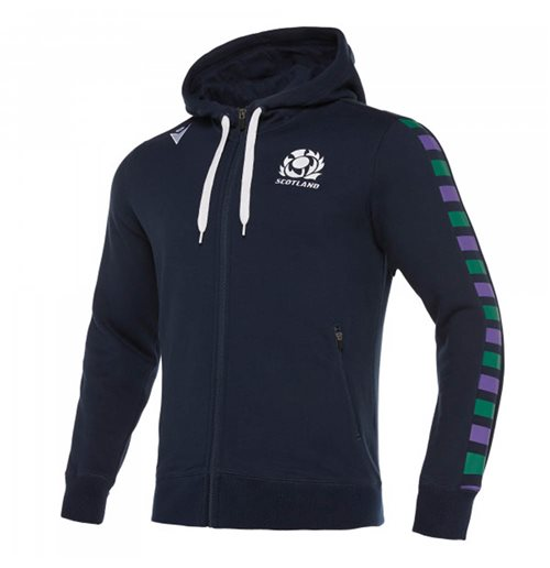 2019-2020 Scotland Macron Rugby Heavy Cotton Full Zip Hoody (Navy)