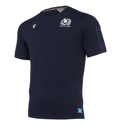 2019-2020 Scotland Macron Rugby Official Travel T-Shirt (Navy)