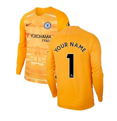 2019-2020 Chelsea Home Nike Goalkeeper Shirt (Gold) - Kids (Your Name)