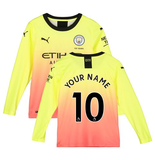 2019-2020 Manchester City Puma Third Long Sleeve Shirt (Kids) (Your Name)