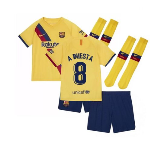 2019-2020 Barcelona Away Nike Little Boys Mini Kit (A INIESTA 8)