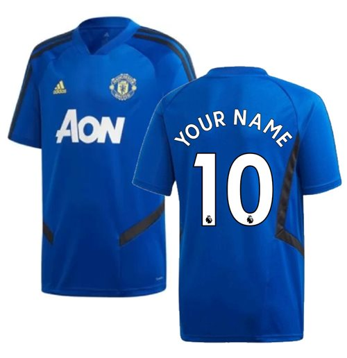 2019-2020 Man Utd Adidas Training Shirt (Blue) (Your Name)