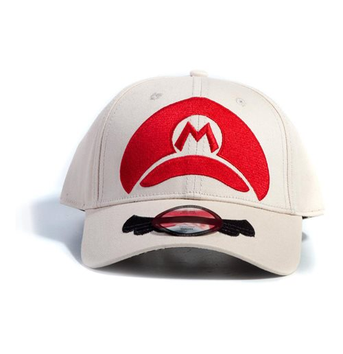 NINTENDO Super Mario Bros. Mario Cap Logo Adjustable Cap, Unisex, White