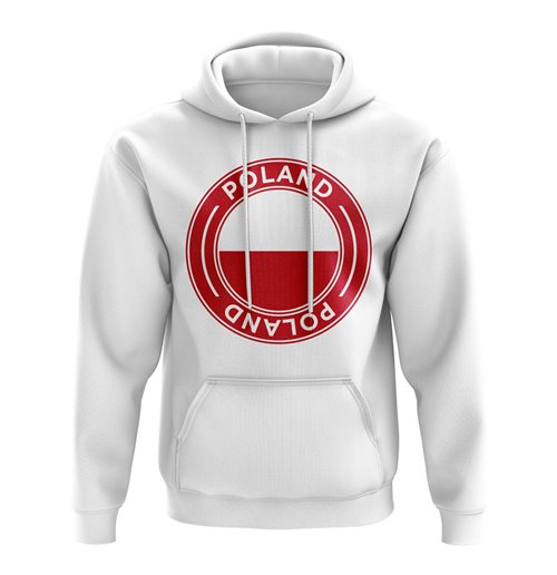 Poland Football Badge Hoodie (White)