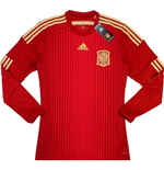 2014-15 Spain Adidas Home Authentic Long Sleeve Football Shirt