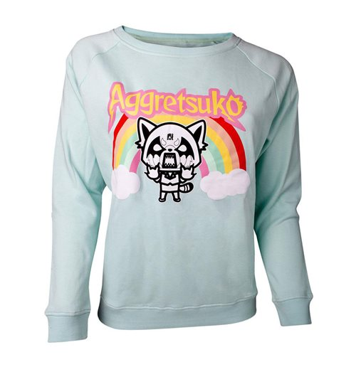 AGGRETSUKO Retsuko Rage Rainbow Sweater, Female, Green