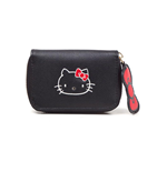 HELLO KITTY Ladies Zip Around Coin Purse, Female, Black/Red