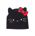 HELLO KITTY Face Shaped with Ears Cuffless Beanie, Unisex, Black