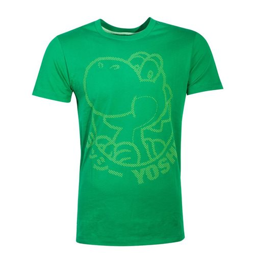 NINTENDO Super Mario Bros. Yoshi Rubber Silhouette Print T-Shirt, Male, Large, Green