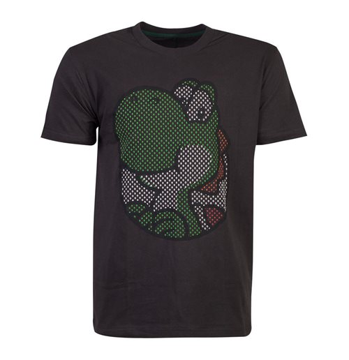 NINTENDO Super Mario Bros. Yoshi Rubber Print T-Shirt, Male, Large, Black