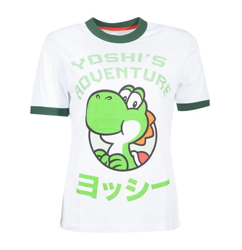 NINTENDO Super Mario Bros. Yoshi Adventure T-Shirt, Female, Small, White/Green