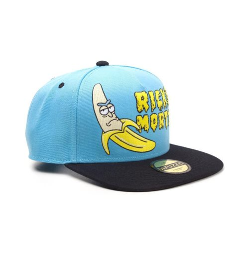 RICK AND MORTY Embroidered Banana Snapback Baseball Cap, Unisex, Blue/Black