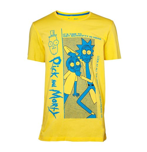 RICK AND MORTY Crazy Crap T-Shirt, Male, Yellow