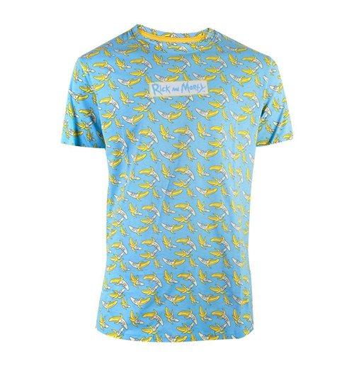 RICK AND MORTY Banana All-over Print T-Shirt, Male, Blue